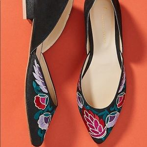 🆕Anthropologie Garden Embroidered Flats NWT